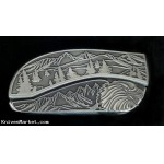 Tree Scene Eagle Belt Buckle With Knife - USA Made - Lifetime Warranty.